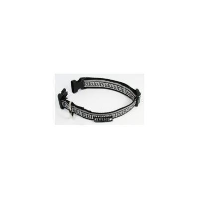 Petflect Black Greek Key Dog Collar - Reflective - Nylon - Super Strength - X-Large, Neck 26