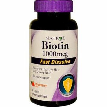 Natrol, Biotin, Fast Dissolve, Strawberry Flavor, 1,000 mcg, 90 Tablets(pack of 3)