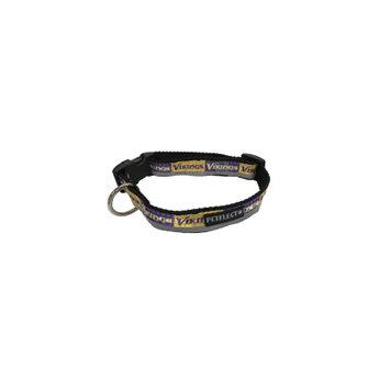 Petflect Minnesota Vikings Dog Collar - Reflective - Nylon - Super Strength - NFL Team Logos - Small, Neck 11