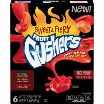 Fruit Gushers Sweet & Fiery Fruit Flavored Snacks, 6 ct, 5.4 oz Box