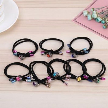 Girl12Queen Double Layer Women Knot Hairband Rope Ring Rhinestone Elastic Ponytail Holder
