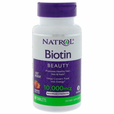 Natrol, Biotin, Strawberry Flavor, 10,000 mcg, 60 Tablets(pack of 12)