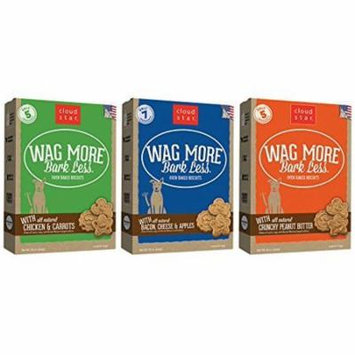 Cloud Star Wag More Bark Oven Baked Dog Treats 3 Flavor Variety Bundle: (1) Wag More Bark Less Oven Baked Crunchy Peanut Butter, (1) Wag More Bark Less Oven Baked Bacon, Cheese, and Apples, and (1) Wa