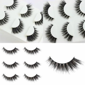Girl12Queen 3 Pairs Women Soft Long Fake Lashes Extension 3D Cross Natural False Eyelashes