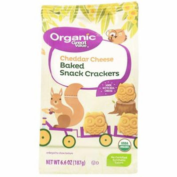 Great Value Organic Cheddar Cheese Baked Snack Crackers, 6.6 oz