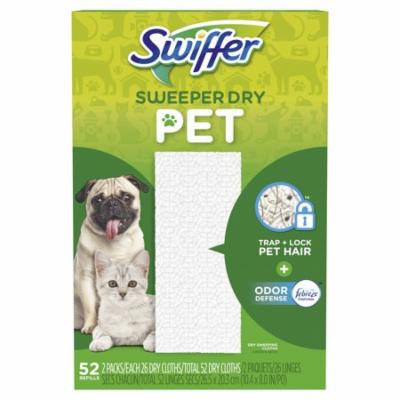 Swiffer Sweeper Pet, Dry Sweeping Cloths with Febreze Odor Defense, 52 Count