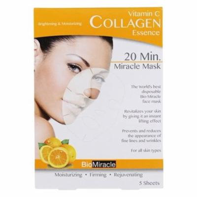 20 Minute Miracle Vitamin C Collagen Essence Facial Sheet Mask - 5 Count by BioMiracle (pack of 2)