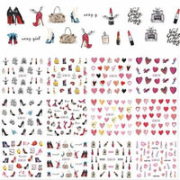 Girl12Queen 12 Designs/Set Women Water Transfer Nail Art Beauty Sticker Tips Manicure Decal
