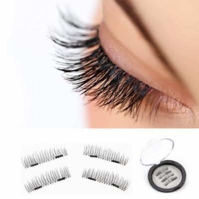 4Pcs Magnetic Eyelashes 3D Magnetic False Eyelashes Ultra Thin Black Natural Eye Lashes Extension Lightweight Natural Thick Eye Lashes Handmade 0.2mm