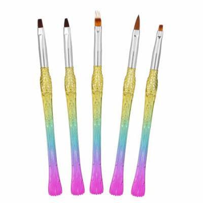 WALFRONT 5Pcs Nail Art Design Brushes Rainbow Gradient Brush Colorful Nail Painting Pen Manicure Tools, Painting Brush Set,Liner Pen