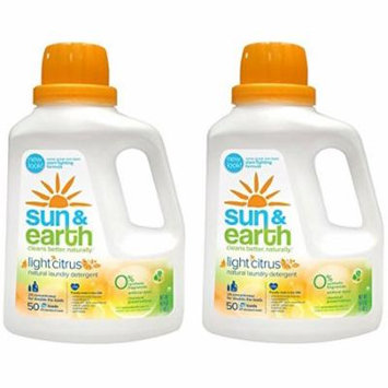 Natural Laundry Detergent - 2x Concentrated, HE Machines - Light Citrus Scent - Non-Toxic, Plant-Based, Hypoallergenic - 50 Ounce (Pack of 2)