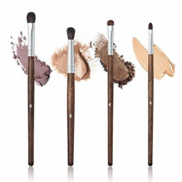 Girl12Queen 4 Pcs Wooden Handle Makeup Brushes Set Eyeshadow Lip Foundation Cosmetic Tools