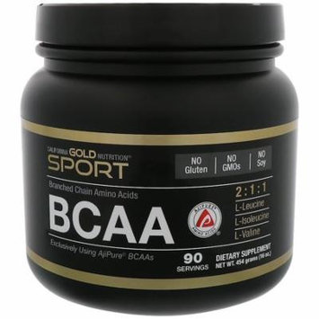 California Gold Nutrition, BCAA, AjiPure, Branched Chain Amino Acids, Gluten Free, Powder, 16 oz (454 g)(Pack of 3)