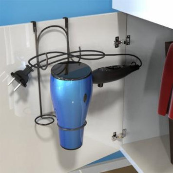 Hair Dryer Holder- Over-the-Cabinet Door Bathroom Styling Rack Holster for Curling Iron, Blow Dryer