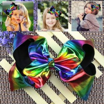 Girl12Queen 2Pcs/Set Large Rainbow Queen Dance Princess Girl Bowknot Hair Clip Accessories