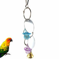 Girl12Queen Mirror Bell Acrylic Little Nipple Pet Bird Parrot Chew Bite Cage Hanging Toy
