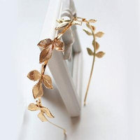 Girl12Queen Women's Fashion Golden Color Leaves Headband Alloy Hair Accessory Gift Hairband