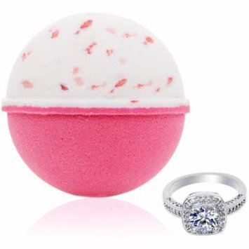 Bath Bomb with Size 8 Ring Inside Pink Himalayan Sea Salt Extra Large 10 oz. Made in USA