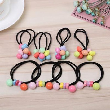 Girl12Queen Sweet Girls Candy Colors Acrylic Beads Elastic Hair Ties Bands Ponytail Holder