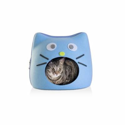 FurHaven Cat Ears and Mouth Cutout and Face Decoration Felt Cubby Pet Bed Cat Bed - Light Blue