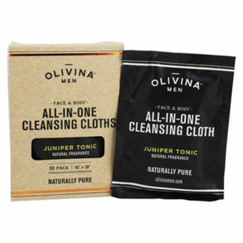 Face & Body All In One Cleansing Cloths Juniper Tonic - 10 Pack by Olivina Men (pack of 4)