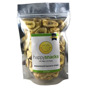 Happy Snacks Sweetened Banana Chips - Resealable Pouch Bag - 8 oz