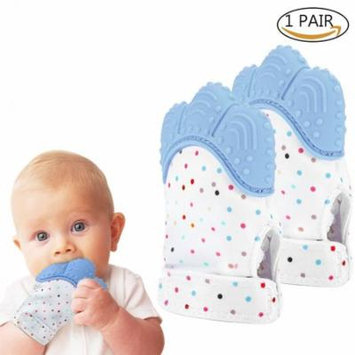Yosoo 2 Pack Teething Toys Baby Teething Mitten Self-Soothing Pain Relief Original Silicone Teether Mitten Handy Chewable Teething Glove for Unisex Baby Infants Toddlers Newborn