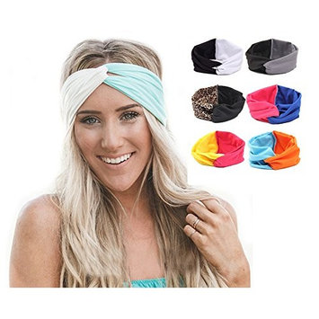 Ewandastore Contrast Color Women 80s Elastic Turban Twist Headband Head Wrap Twisted Knotted Soft Cross Knot Headbands Hair Bands