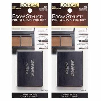 L'Oreal Brow Stylist Prep & Shape Pro Kit, #387 Medium To Dark (Pack of 2) + Makeup Blender Sponge