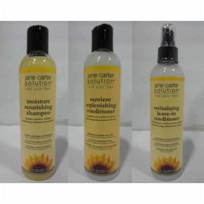 Jane Carter Moisture Nourishing Shampoo, 8 oz & Nutrient Replenishing Conditioner, 8 oz & Revitalizing Leave-In Conditioner, 8 oz Set
