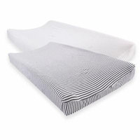 Touched by Nature Baby Boy and Girl Organic Changing Pad Cover, 2-Pack - White/Heather Charcoal