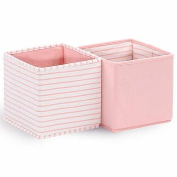 Baby Nursery Collapsible Storage Totes / Bins 2-Pack in Coral by The Peanut Shell