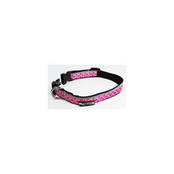 Petflect X-Out Dog Collar - Reflective - Nylon - Super Strength - Pink, Medium, Neck 14