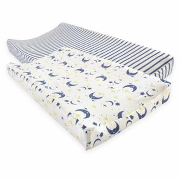 Touched by Nature Baby Boy and Girl Organic Changing Pad Cover, 2-Pack - Moon