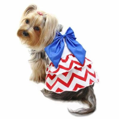 Klippo Pet KDR063LZ Puppy Patriotic Red, White & Blue Large Bow Sundress - Large