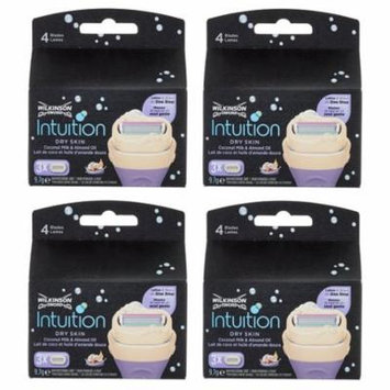 Wilkinson by Schick Intuition Dry Skin Coconut Milk & Almond Oil Refill Razor Blade Cartridges, 3 Count (Pack of 4) + FREE Eyebrow Trimmer