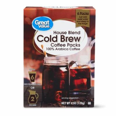 Great Value Cold Brew Coffee Packs, House Blend, 6 oz, 6 Count