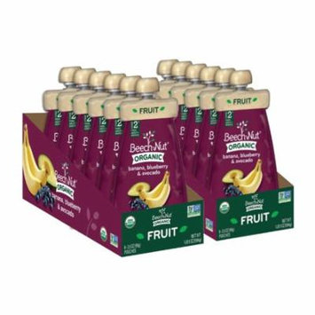 Beech-Nut Organic Stage 2 Banana, Blueberry & Avocado Baby Food, 3.5 oz, (Pack of 12)