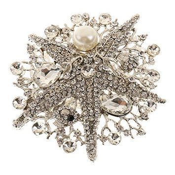 MagiDeal Vintage Crystal Starfish Pearl Hair Comb Clip Bride Lady Accessories Jewelry