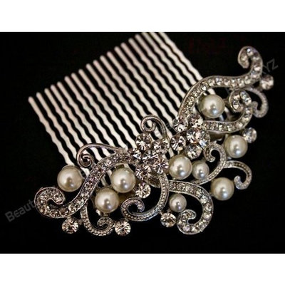 Bridal Wedding Jewelry Crystal Rhinestone Beautiful Flower Wave Hair Comb Pin #7 by beautyxyz