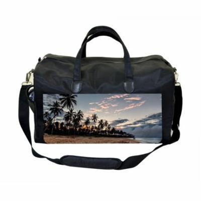 Palms Sunset Print Large Black Duffel Style Diaper Baby Bag