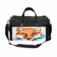 Watercolor Fox Large Black Duffel Style Diaper Baby Bag