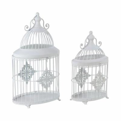 Decmode Traditional 16 And 20 Inch White Iron Bird Cage Planters - Set of 2