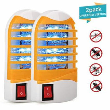 Bug Zapper, Upgraded Mosquitoes Killer, Indoor Mosquito Zapper Bug Light, Plug-in Electronic Insect Gnat Flying bugs Killer Trap, for Bedroom Home Porch with Blue Night Light (Pack of 2)