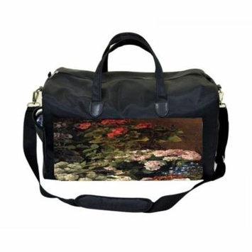 Claude Monet's Spring Flowers Large Black Duffel Style Diaper Baby Bag