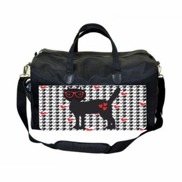 Hipster Feline on Houndstooth Pattern - Hearts Large Black Duffel Style Diaper Baby Bag