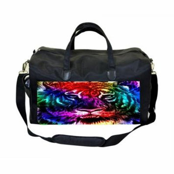 Colorful Tiger Large Black Duffel Style Diaper Baby Bag