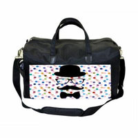 Hipster Face on Polka Dots Large Black Duffel Style Diaper Baby Bag