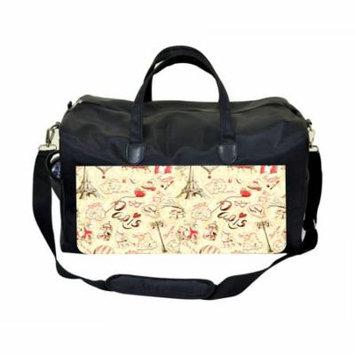 Vintage Paris Print Large Black Duffel Style Diaper Baby Bag