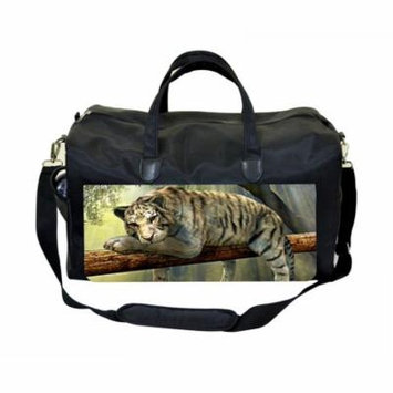 White Tiger on a Branch Large Black Duffel Style Diaper Baby Bag